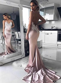 Pink Mermaid Spaghetti Strap Backless Prom Dresses With Lace Applique