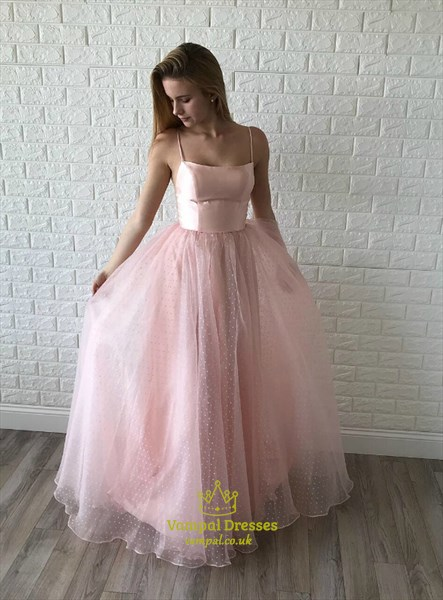 Pink Chic A-Line Spaghetti Strap Tulle Floor Length Prom Formal Dress