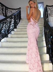 Pink Mermaid Lace Overlay High Neck Prom Dresses With Criss-Cross Back