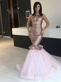 Pink Mermaid Keyhole Sleeveless Sequin Top Tulle Bottom Evening Dress