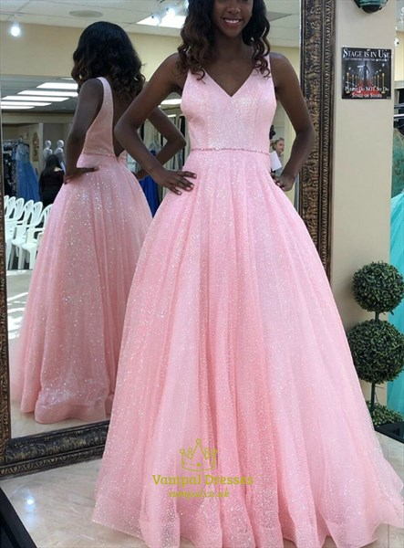 Pink Sequin Overlay A-Line V Neck Sleeveless Prom Dress With Open Back