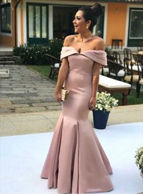 Pink Mermaid Off The Shoulder Pleated Floor Length Evening Prom Dress
