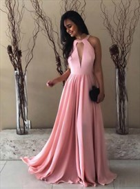 Pink A-Line High Neck Keyhole Front Backless Floor Length Prom Dresses