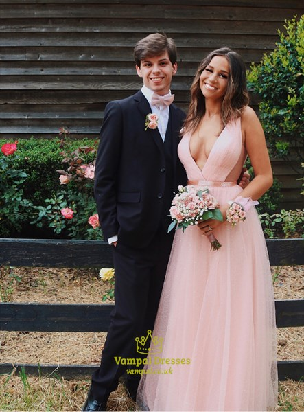 Pink Deep V-Neck Sleeveless Tulle Long Prom Dresses With Cutout Sides