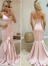 Pink Mermaid V-Neck Ruffle Long Evning Prom Dresses With Double Straps
