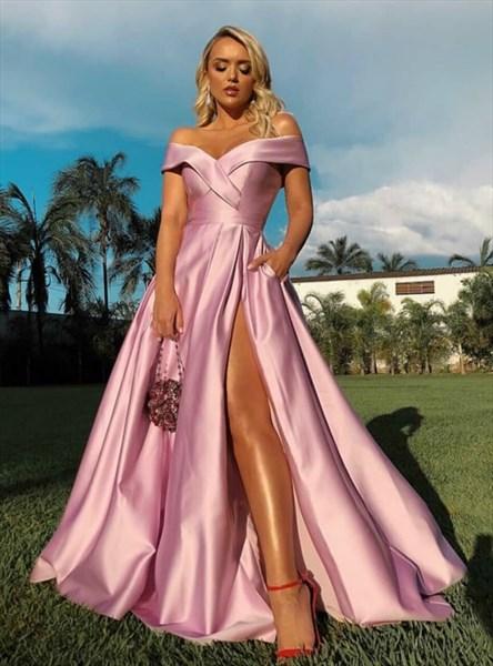 Pink A-Line Satin Off The Shoulder Long Evening Dress With Side Split