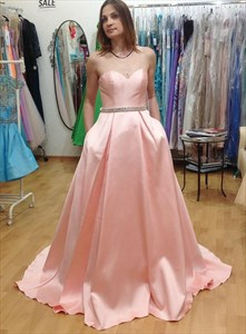 Pink Strapless Sweetheart Long Formal Prom Dresses With Beaded Bands