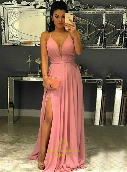 Pink Chiffon Spaghetti Strap Pleated Long Prom Dress With Cut Out Back