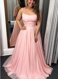Pink Chiffon A-Line Spaghetti Strap Prom Dresses With Criss-Cross Back
