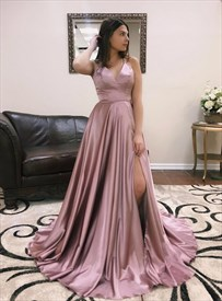Pink V Neck Criss-Cross Back Spaghetti Strap Evening Dress With Split