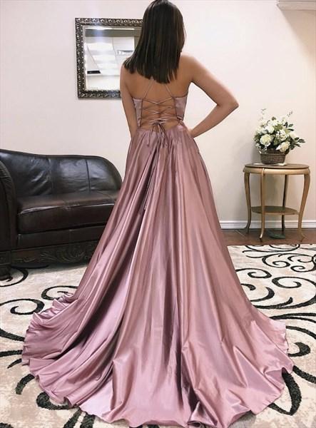 Pink V Neck Criss-Cross Back Spaghetti Strap Evening Dress With Split