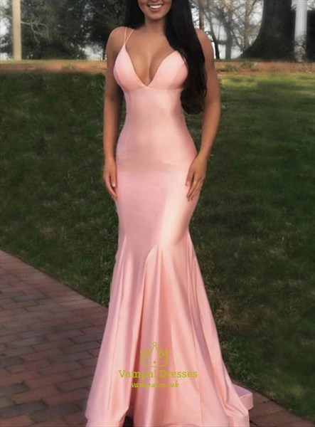 Pink Mermaid V Neck Spaghetti Strap Prom Dresses With Criss-Cross Back