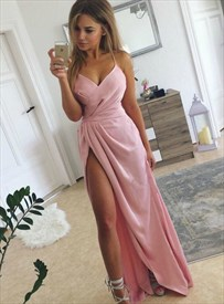 Pink V Neck Spaghetti Strap Satin Floor Length Prom Dresses With Split
