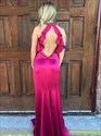 Fuchsia Mermaid Halter Ruffle High Neck Long Prom Dress With Open Back