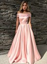 A-Line/Princess Pink Off The Shoulder Mermaid Prom Dress With Pockets