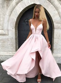 Light Pink Plunge V Neck Spaghetti Strap High Low Prom Formal Dresses