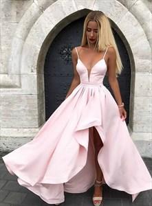 Light Pink Plunge V Neck Spaghetti Strap High Low Prom Formal Dresses