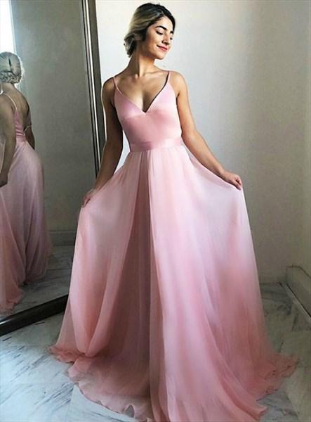 Pink Chiffon V-Neck Spaghetti Strap Backless Long Prom Formal Dresses