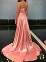 Pink V Neck Spaghetti Straps Long Prom Dresses With Slits Up The Side