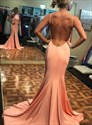 Pink Mermaid High Neck Backless Long Prom Dress With Slits Up The Side
