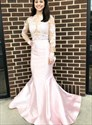 Pink Mermaid Lace Applique Backless Prom Dress With Sheer Long Sleeves