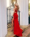 Red Mermaid Two Piece Spaghetti Strap Long Prom Dresses With Open Back