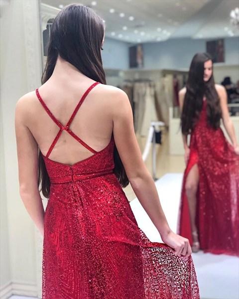 Red Sequin Overlay Deep V-Neck Evenig Dresses With Slits And Open Back