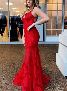 Red Mermaid Lace Overlay Deep V-Neck Prom Dress With Criss-Cross Back