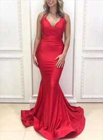 Red Mermaid V-Neck Backless Pleated Prom Dresses With Criss-Cross Back
