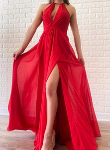 Red Chiffon Halter Pleated Split Front Prom Dresses With Cut Out Back