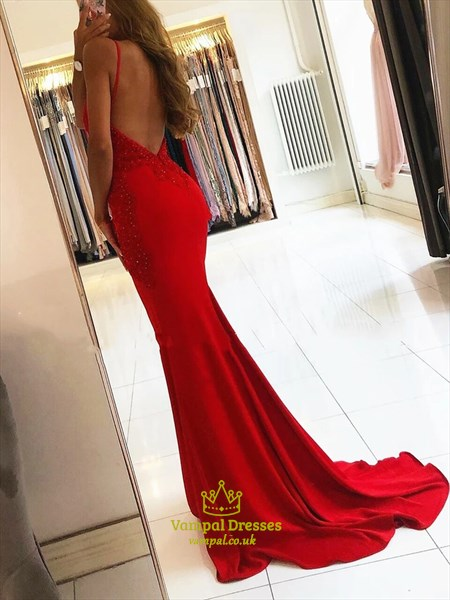 Red Mermaid Spaghetti Strap V Neck Lace Applique Backless Prom Dresses
