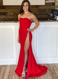 Red Mermaid Strapless Sheath Split-Front Beaded Formal Evening Dresses