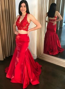 Red Mermaid Two Piece Sheer Illusion Lace Applique V-Neck Prom Dresses