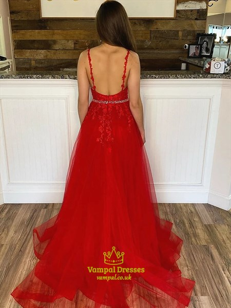 Red Lace Applique V Neck Spaghetti Strap Evening Dress With Open Back