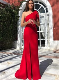 Elegant Red Floor-Length One Shoulder Split Front Prom Formal Dresses