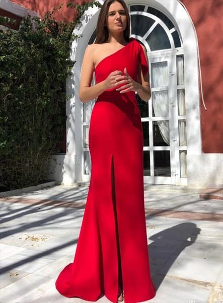 Elegant Red Floor-Length One Shoulder Split Front Prom Formal Dresses