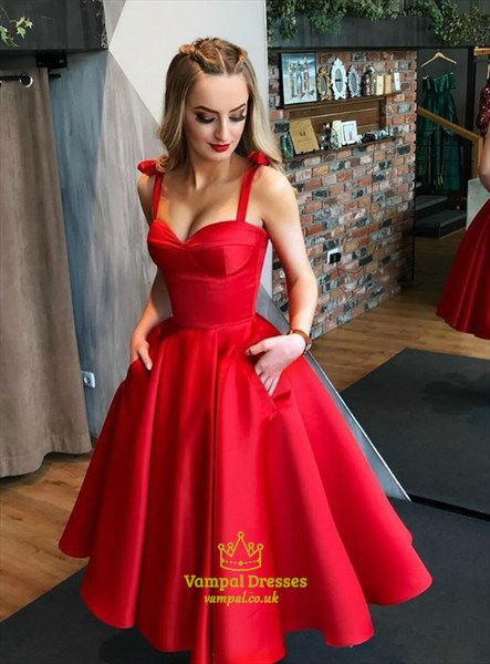Red Satin A-Line Tea Length Fit And Flare Homecoming Dress With Pocket