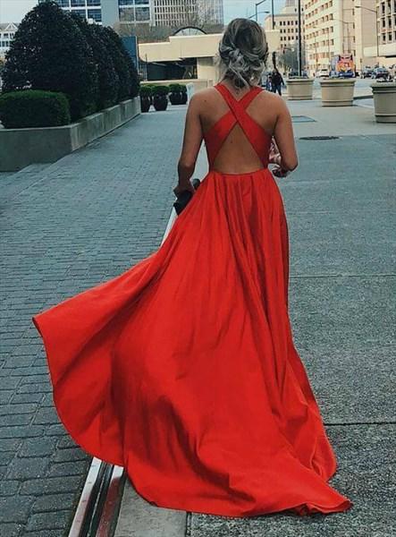 Elegant Red Deep V Neck Sleeveless Backless Long Prom Dress With Split
