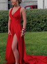 Elegant Red Deep V Neck Sleeveless Backless Long Prom Dress With Split