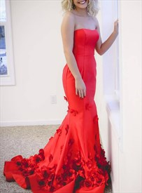 Red Mermaid Strapless 3d Flower Embellished Long Prom Evening Dresses