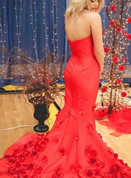 Red Mermaid Strapless 3d Flower Embellished Long Prom Evening Dresses