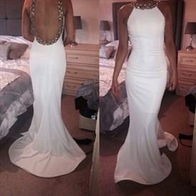 White Beaded Halter Neck Sleeveless Backless Sheath Mermaid Prom Dress