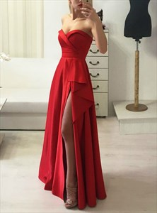 Red A-Line Strapless Sweetheart Neckline Formal Dress With Split Front