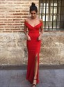 Red Sheath V Neck Off The Shoulder Long Evening Dress With Split Front