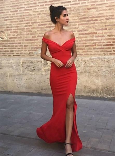 Red Sheath V Neck Off The Shoulder Long Evening Dress With Split Front
