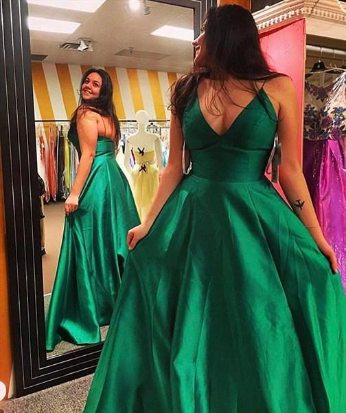 Stunning A Line Ivory V Neck Satin Spaghetti Strap Long Prom Dresses