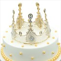 White And Gold Lace Crown,Gold Lace Crown Cake Topper For Baby Girl