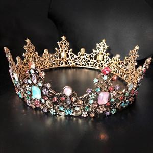 Baroque Vintage Multicolor Rhinestone Tiara Queen Crown