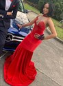 Classic Red Halter Beaded Lace Applique Sheer V-Neck Long Prom Dresses