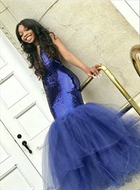 Royal Blue Deep V Neck Sequin Top Tulle Bottom Long Mermaid Prom Dress